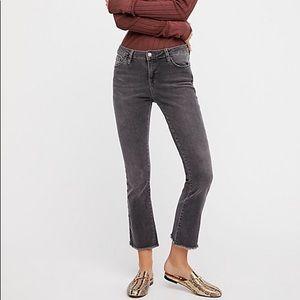 Free People Straight Leg Cropped Frayed Hem Jeans
